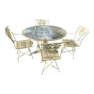 Vintage Woodard Wrought Iron Patio Set - Set of 5
