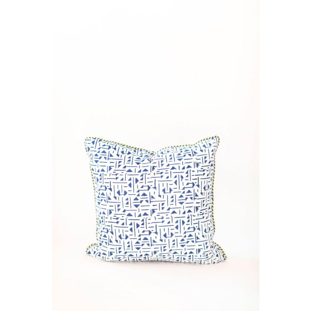 """Asian Roue II Block Print Pillow - 22x22"""" For Sale - Image 3 of 3"""