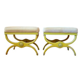 Hollywood Regency Style X Base Ottomans in Sunny Yellow - Pair For Sale