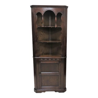 Vintage English Oak Open Face Corner Cabinet For Sale