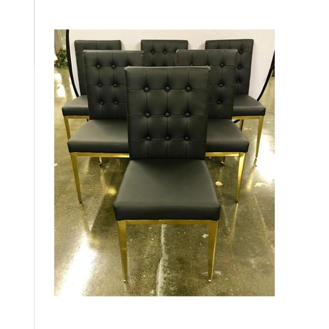 Round Glass and Brass Dining Table and Black Leather Chairs Set For Sale In New York - Image 6 of 13