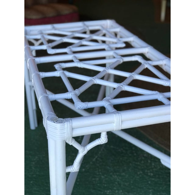 Lexington Fretwork Chinese Chippendale Rattan Base For Sale - Image 9 of 11