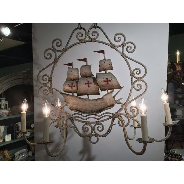 Mid-20th Century French Painted Iron Six-Light Sailboat Chandelier - Image 2 of 9