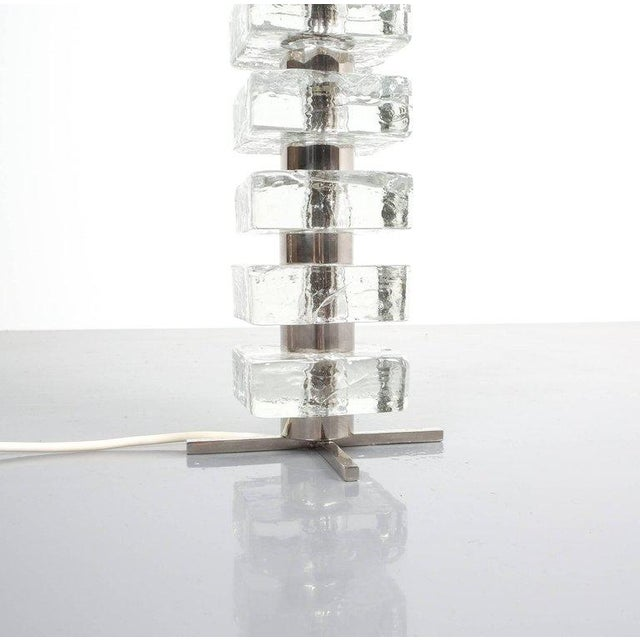 Hollywood Regency Bakalowits & Sohne Square Block Glass Table Light Large, Austria, 1960 For Sale - Image 3 of 6