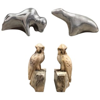 Aluminum and Alabaster Animal Sculptures - Set of 4 For Sale