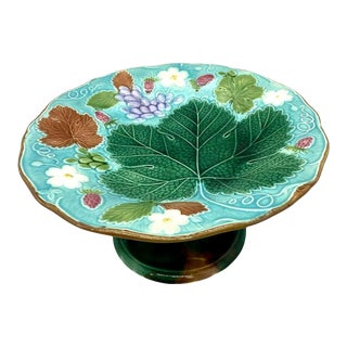Wedgwood Majolica Turquoise Vine and Strawberry Tall Comport, English, 1881 For Sale