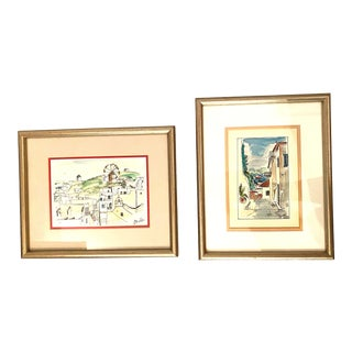 Scenes From Mykonos Greece Watercolor and Ink Paintings, Framed - a Pair For Sale