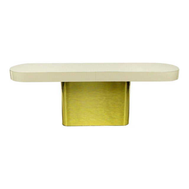 Milo Baughman Brass Base Console Table With Matching Benches - Image 1 of 10