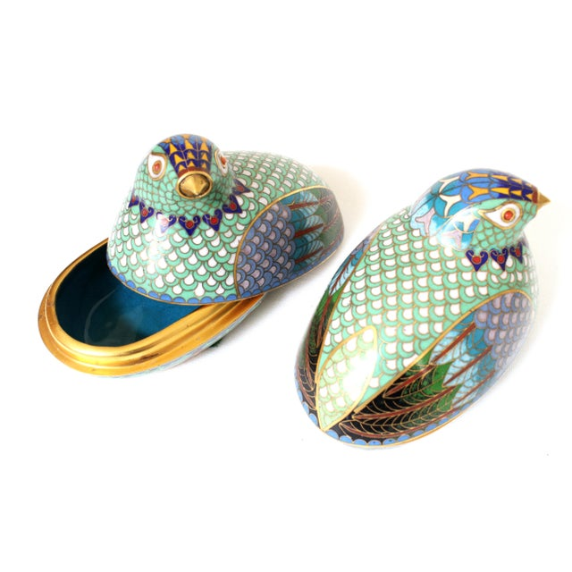 Twin pair of rare late 19th Century Chinese cloisonné birds (quail or partridges). Excellent condition. Fine detail and...