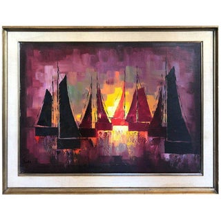 Mid-Century Oil on Canvas of Sailboats For Sale