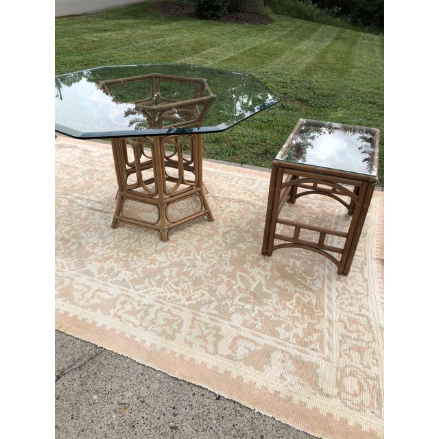 Boho McGuire Style Bent Rattan Table + Octagon Shaped, Beveled Glass Top For Sale - Image 10 of 11