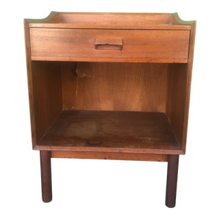 1960s Danish Modern Teak Nightstand With Single Drawer For Sale
