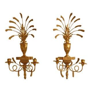 Italian Made Gold Gilt Candelabra Wall Sconces - A Pair