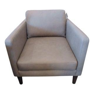 Lichen Gray Leather Armchair