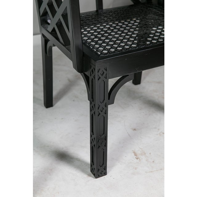 1980s Vintage Madcap Cottage Black Chinoiserie Fretwork Chairs-a Pair For Sale - Image 10 of 13