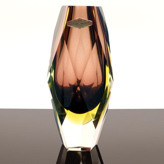 Offered here is a magnificent and unusual five-sided faceted block vase by Luigi Mandruzzato, Murano Italy. These heavy...