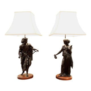 French Classical Figural Lamps on Walnut Plinths - a Pair For Sale
