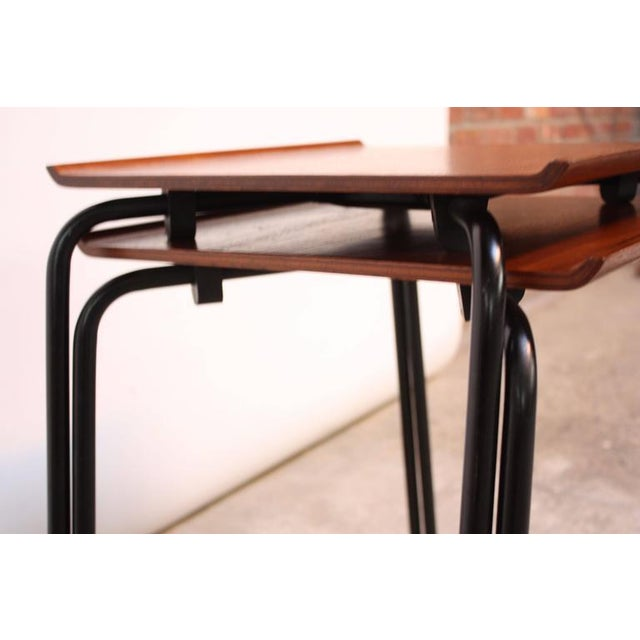 Brown 1950s Arne Jacobsen for Fritz Hansen Danish Teak and Metal Stacking Tables - A Pair For Sale - Image 8 of 9