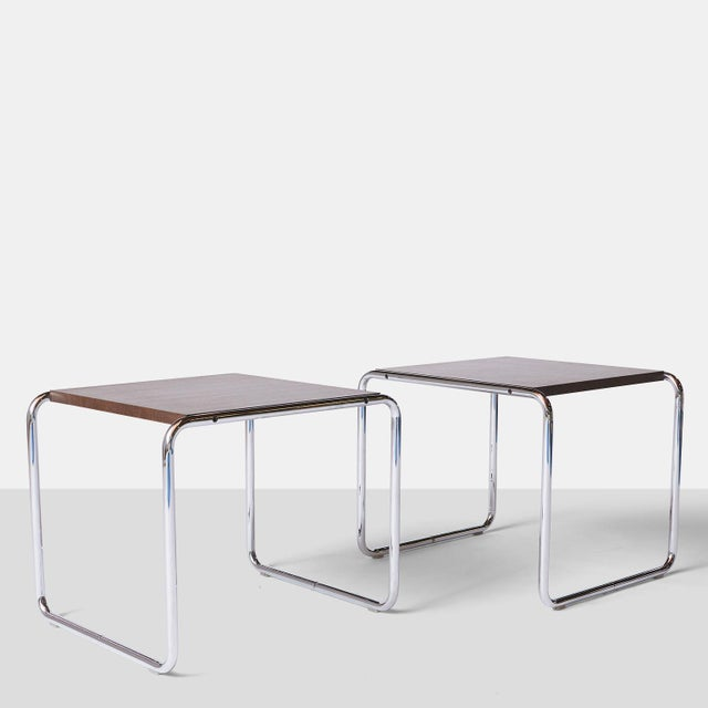 Pair of Laccio Tables by Marcel Breuer. A pair of Laccio Tables for Knoll - chrome and walnut veneer. Designed in 1924 to...