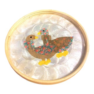 Folk Art Bamboo and Capiz Shell Hand Crafted Tray For Sale