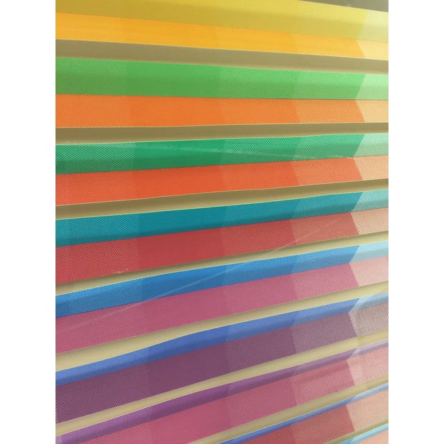Yellow Anne Youkeles Op Art 1970 Cascade II Signed Lmt Ed Mixed Media For Sale - Image 8 of 10