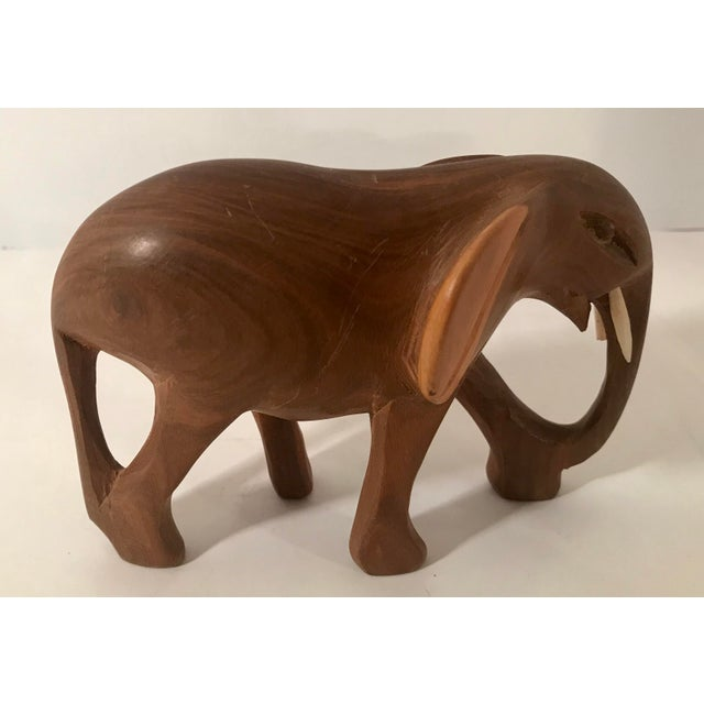 Vintage Wooden Carved Elephant For Sale In Dallas - Image 6 of 10