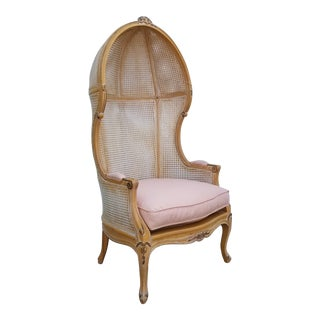 1990s Vintage French Country Style Double Cane Canopy Chair For Sale