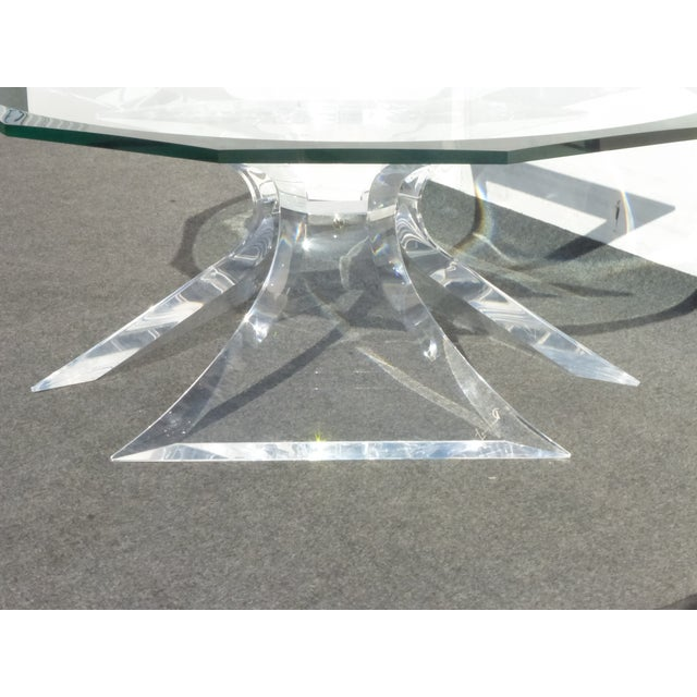 Glass Designer Signed Lion in Frost Triple Butterfly Lucite and Glass Coffee Table For Sale - Image 7 of 13