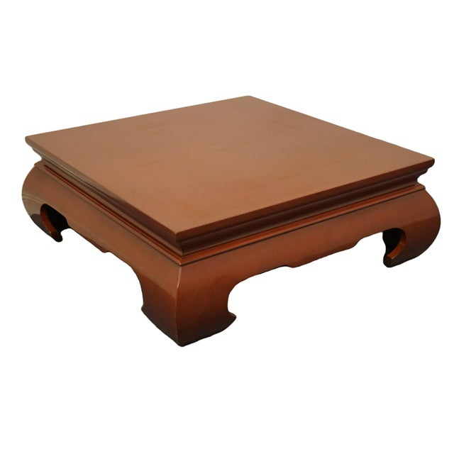 Contemporary Modern Asian Inspired Square Rust Red Coffee Table For Sale - Image 9 of 9