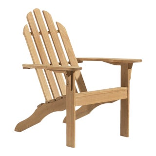 Teak Adirondack Outdoor Chair, Natural For Sale