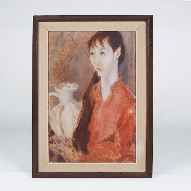 1960s Vintage Thea Wisser Portrait of a Woman Painting For Sale - Image 4 of 4