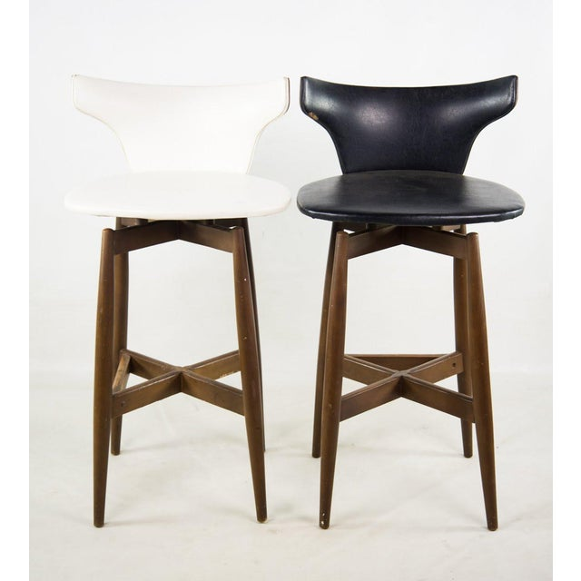 Seymour James Wiener for Kodawood Mid-Century Vinyl Swivel Barstools - A Pair For Sale - Image 11 of 13
