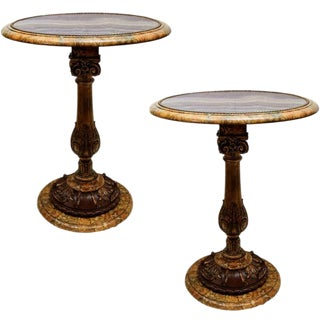 19th C. Italian Carved Giltwood Faux Painted Occasional Tables For Sale