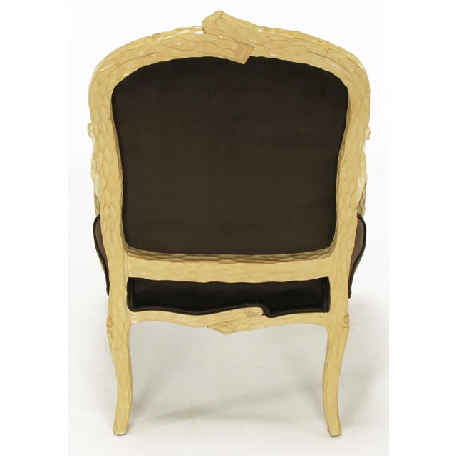 Pair of Faux Bois and Velvet Louis XV Style Fauteuils - Image 6 of 10