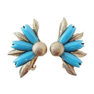1950s Ciner Faux-Turquoise Rhinestone Flower Earrings For Sale