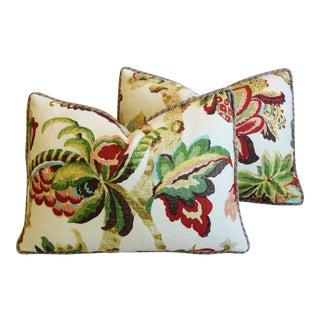 """Schumacher Kelmscott Manor Linen Feather/Down Pillows 23"""" X 17"""" - Pair For Sale"""