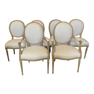 Louis XVI Dining Chairs With Original Paint & Linen Uphostery -Set of 6 For Sale