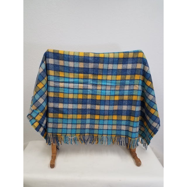 English Wool Throw Blues and Yellow Squares - Made in England For Sale - Image 3 of 13