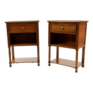 Late 20th Century Grange Country Chic End Tables - a Pair