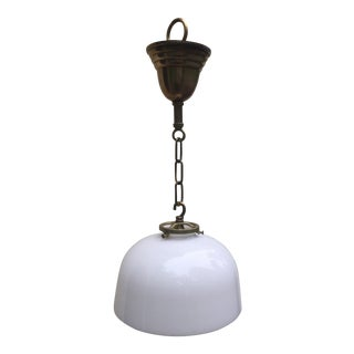 Vintage Brass Hanging Fixture With Vintage Milk Glass Shade For Sale