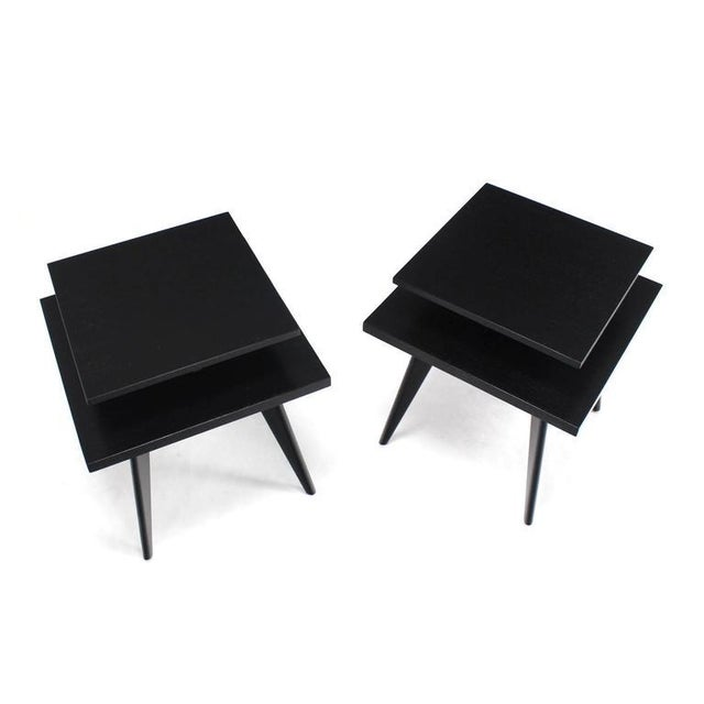 Walnut Pair of Black Lacquer Square Step Side Tables on Tapered Legs For Sale - Image 7 of 8