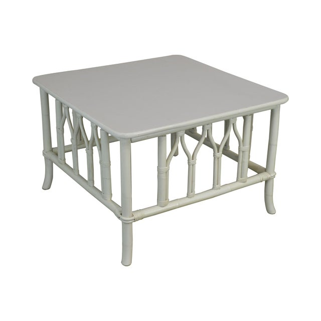 Ficks Reed White Painted Square Rattan Coffee Table For Sale - Image 13 of 13
