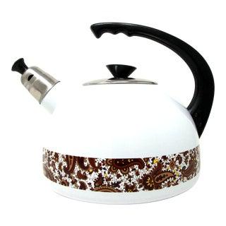 Vintage C.1970's White Enamel Metal Tea Pot - New Old Stock For Sale