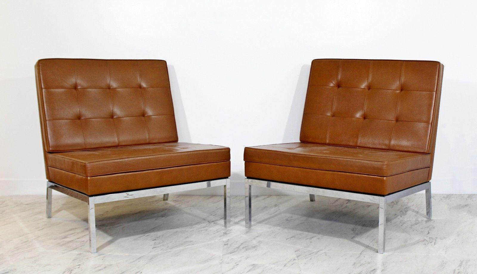 Mid Century Modern Pair Vintage Knoll Chrome Leather Slipper Chairs Model  #65   Image 2