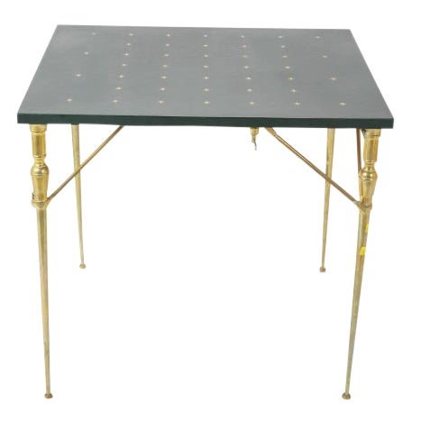 A Leather Top and Brass Folding Games Table For Sale