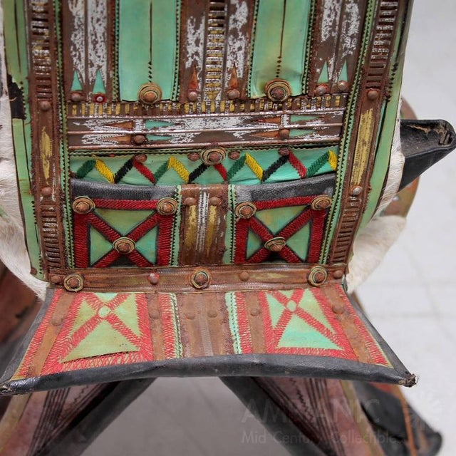 Green Goatskin & Leather Tribal Chair For Sale - Image 8 of 9