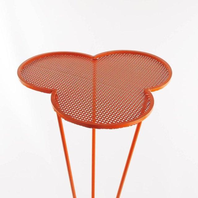 Matthew Mategot Mathieu Mategot 1950s Orange Perforated Metal Pedestal or Tall Side Table For Sale - Image 4 of 9