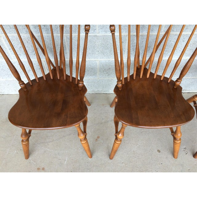 Traditional Ethan Allen Windsor Brace Back Nutmeg Side Chairs - Set of 4 For Sale - Image 3 of 11