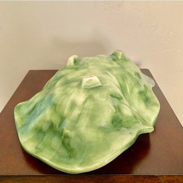 Hollywood Regency Vintage Green Ceramic Cabbage Leaf Bowl, Candy Dish For Sale - Image 3 of 5