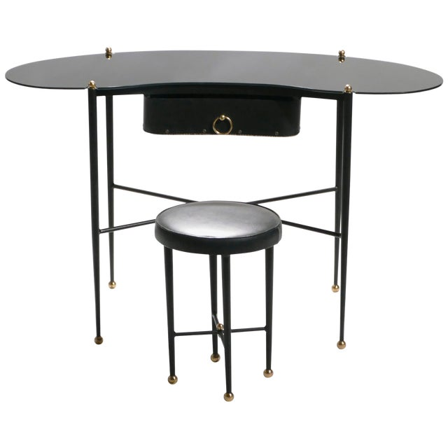 Jacques Adnet Leather Desk Vanity With Stool, 1940s For Sale
